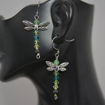 Dragonfly Earrings, Insect Earrings, Shades of Green Dragonfly Earrings, Nature Inspired Earrings, Swarovski Crystal Dragonfly Earrings