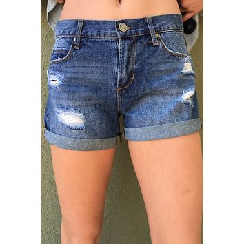"Articles Of Society ""Behy Boyfriend Shorts""- Medium Wash"