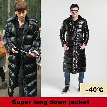 2017 New male winter Jacket Men's Down Jacket Shiny Down Coat thickening slim down coat lengthen snowsuits -40 degrees 3XL 4XL