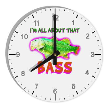 """All About That Bass Fish Watercolor 8"""" Round Wall Clock with Numbers"""