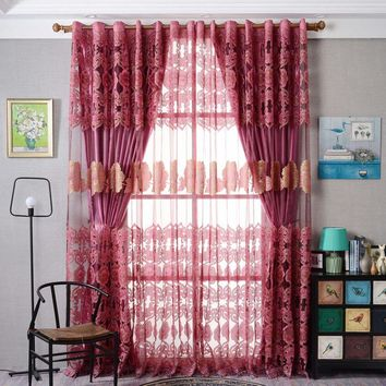 Window Curtain Luxurious Upscale Jacquard Yarn Curtains Peony Pattern Voile Door Window Curtains Living Room Bedroom Decor