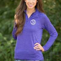 Monogrammed Active Pullover Purple
