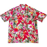 Oasis Red Hawaiian Rayon Shirt