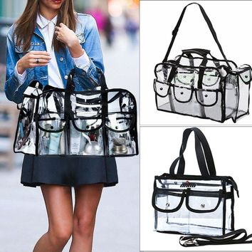 Clear Tote Vinyl Plastic PVC Shoulder Bag Beach Cosmetic Handbag Silver Stud M L