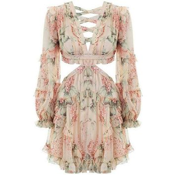Women's Sexy Flower Print Criss Cross Dress