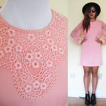 Vintage 60's 70's M/L mod old rose coral pink sheer sleeves mod twiggy party cocktail dress embroidered