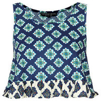 Petite Mix Tiled Peplum Top - Blue
