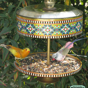 Vintage Retro 1960s 70s Moroccan Candy Tin Bird Feeder Repurposed Upcycled