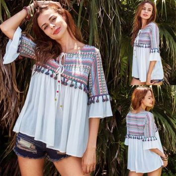 Women Casual Loose Flare Sleeve Tops Ladies Summer Fashion New Half Sleeve Tops Tassel Print Round Neck T-Shirt