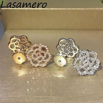 LASAMERO 0.33CTW Flower Natural Diamond Cluster Earrings 18K White Gold Diamond Halo Stud Earrings Fine Jewelry Earring Studs