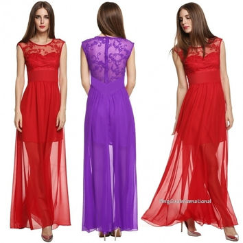 New Stylish Ladies Women Lace Patchwork Formal Evening Long Dress = 1838593476
