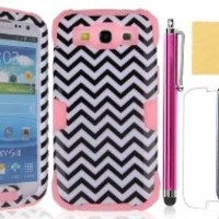 Galaxy S3 Case, Nccypo New Style Luminous Silicone Hard Shell Case Cover For Samsung Galaxy S3 i9300(Pink), Include Screen Protector,Stylus and Cleaning Cloth