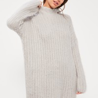 Missguided - Grey Brushed Chunky Stitch Jumper Dress
