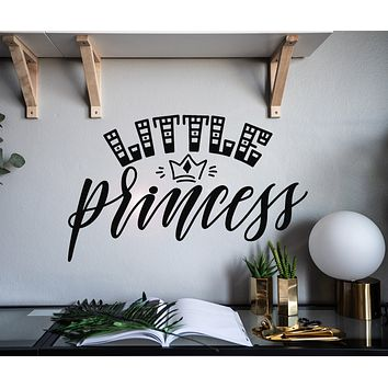 Vinyl Wall Decal Letter Little Princess Cartoon Crown Stickers Mural 22.5 in x 14 in gz036