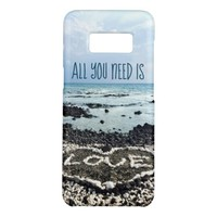 """""""Need Love"""" Quote Hawaii Beach & Coral Heart Photo Case-Mate Samsung Galaxy S8 Case"""