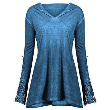 Wipalo Autumn New Plus Size Crochet Panel Hoodie Garment Lace Trim Long Sleeve Solid Color Top Pullovers Hoodie Women'S Clothes