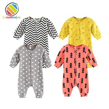 Lemonmiyu Cotton Baby Rompers Long Sleeve Newborn Pajamas Animal Print Infant Boy Girl One-piece Spring Autumn Baby Clothes