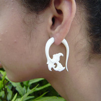 Fake Gauge flower Hand Craved Natural White Bone Split Gauge Earrings Flowing Flower Anela's