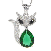 Dear Deer White Gold Plated Fox Pendant Necklace