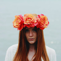 Dreamboat Annie - Flower Crown / Floral Crown / Flower Halo / Flower Headband / Festival Wear / Coral / Peach Roses