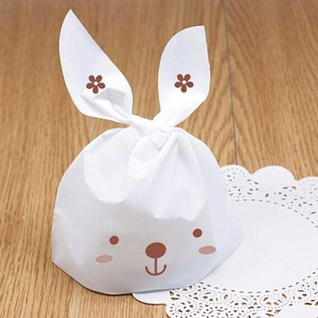 50Pcs Rabbit Ear Biscuit Bag Cookie Flat Bags Cake Food Packaging Candy Gift Bag Cute Cartoon Wedding Party Decoration