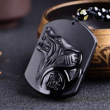 Black Wolf Obsidian Necklaces