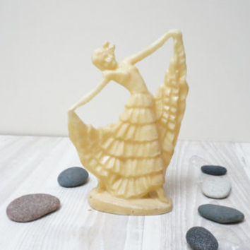 Ballerina Soviet Figurine Vintage Retro USSR Gift white ivory yellow milk cream Russian Collectible Ballet dancer girl Home Decor