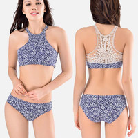 2017 Newest Lace Tankini Crochet Swimsuit Women High Neck Swimwear Flower Bathing Suit Crop Top Bikini Push Up Padding Swim Suit