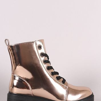 Conyers Metallic Patent Combat Lace-Up Ankle Boots
