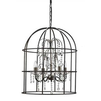 Collected Notions Metal Birdcage Chandelier w/ Crystals & 4 Lights
