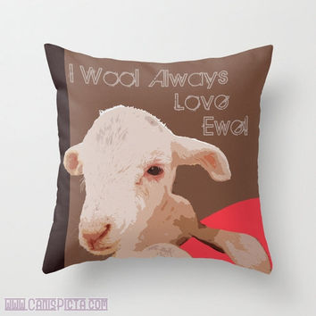 "Lamb, Sheep Graphic Print 16"" x 16"" Throw Pillow Cover - Couch Art, White, Cream, Tan, Beige, Brown, Melon, Farm Life, Ewe, Wool"