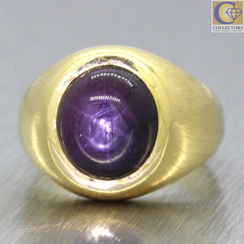 Men's Vintage Estate 14k Solid Yellow Gold Chunky Cabochon Star Ruby Ring