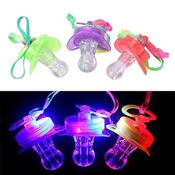 Flashing LED Pacifier Whistle Necklace