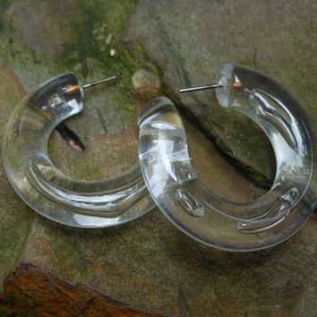 Clear Plastic Chunky Hoop Earrings Post Style 1980s Retro Design Vintage Jewelry Valley Girl Bubbles 1 Inch Geometric Simple Statement Fun