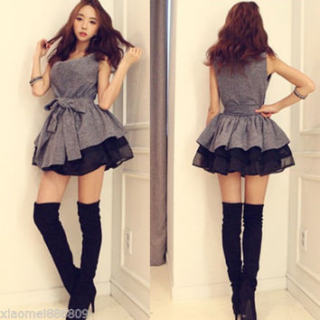 Fashion women Korean Style Tank Top Sexy Ball Gown Mini Dress Evening party gray