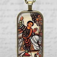 St George Coptic Ethiopian Art Glass Tile Pendant Necklace