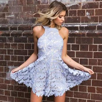 DCCKXT7 Fashion  Solid Color Hollow Lace Backless Sleeveless Mini Dress
