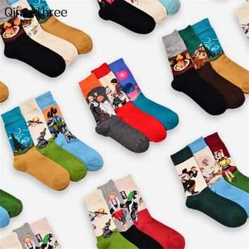 Retro world famous painting socks men women's vintage literary abstract oil painting tube socks couples socks Drop ship