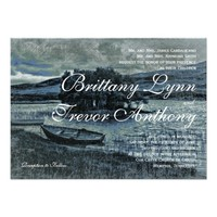 Rustic Country Canoe Boat Lake Wedding Invitations