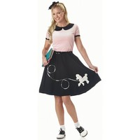 50's Hop With Poodle Skirt Costume - Adult (Black)