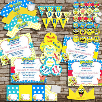 Spongebob Birthday Party Package Personalized Deluxe Birthday Set Printable