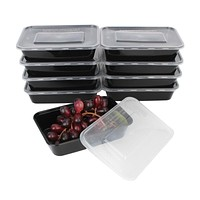 Hot Sale 10Pcs 450ML Black Disposable Food Container Snack Packing Boxes Microwaveable PP Lunch Bento Box