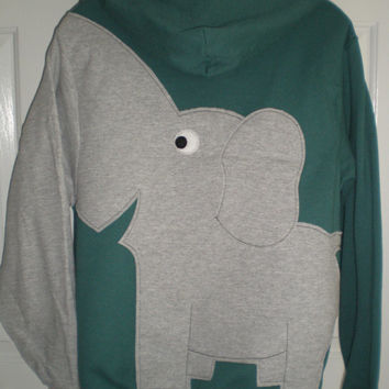 Dusty green Elephant trunk sleeve zip front hoodie sweatshirt, Elephant on the back, unisex adult small