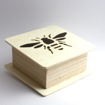 Handmade, Wood burned Bee Box