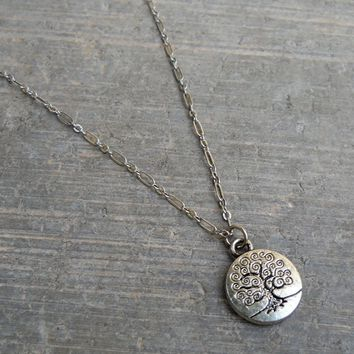 Tree Of Life, Silver Chain and Charm Necklace