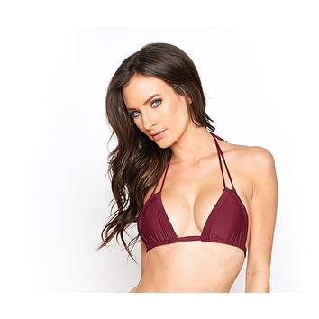 Montce Swim Maroon Euro Tassels Swimsuit Triangle Top