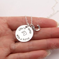 1154 Life Is Better with A Horse Shoe Pet Print Necklace Memorial Tag Necklaces Pendants Charm Women Choker Lead Free