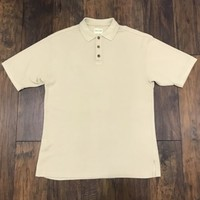 Joseph & Feiss Silk Blend 3-Button Beige Polo Shirt Menswear Mens Size L Large