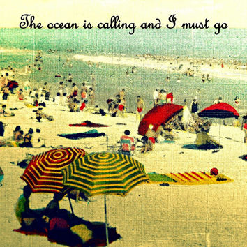 Beach photography OCEAN CALLING 12x12 fits Ikea Ribba frame print umbrellas house decor wall art