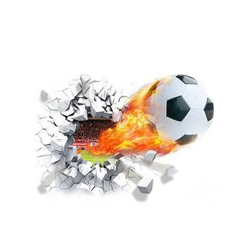 Soccer Funs 3d Mural Art Sport Game Poster Wall Stickers for Kids Room